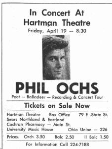Phil Ochs Hartman Theatre April 19 1968 concert poster