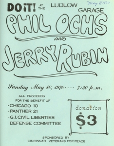 Ludlow Garage - Jerry Rubin + Phil Ochs Vietnam War Peace Rally Poster